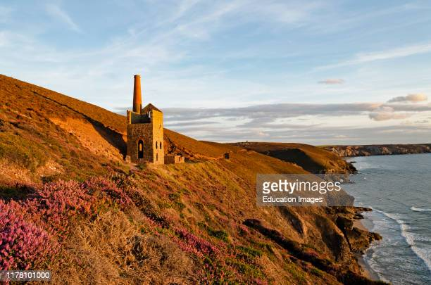 the old towanroath tin mine engine house on the cliffs near chapel porth stagnes Cornwall England Britain uk