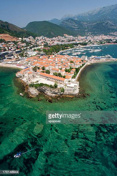 The Old Town of Budva, Montenegro (aerial view)