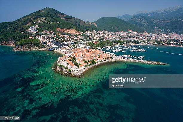 the old town of budva, montenegro (aerial view) - montenegro stock pictures, royalty-free photos & images