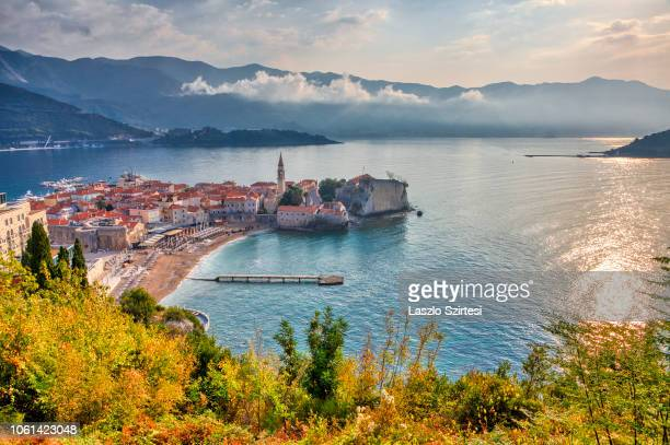 The old town of Budva the Obala and Kupacica beaches are seen on October 20 2018 in Budva Montenegro Budva is one of the oldest towns at the coast of...
