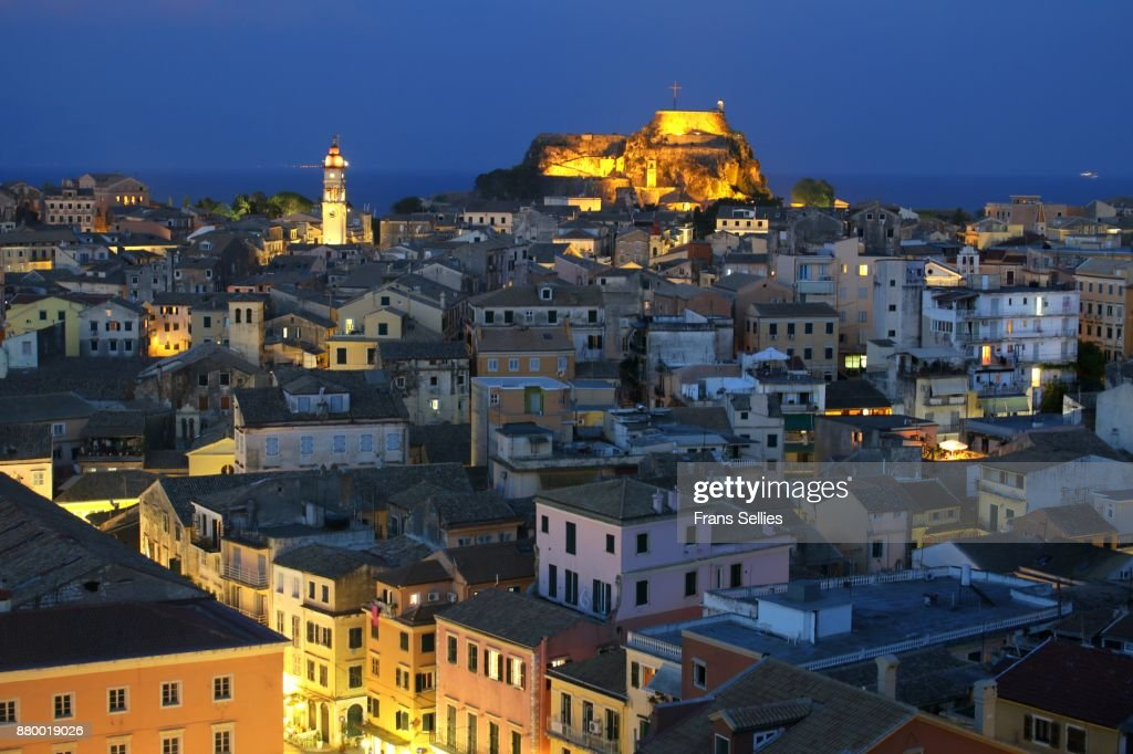 The old town of Corfu at night, Ionian islands, Greece : Stock Photo