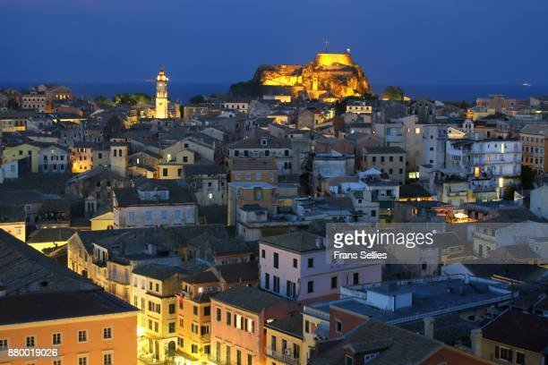 The old town of Corfu at night, Ionian islands, Greece