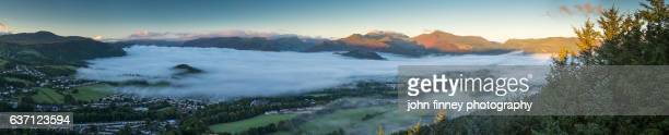 the old town of keswick panoramic. lake district. uk. - blencathra stock photos and pictures