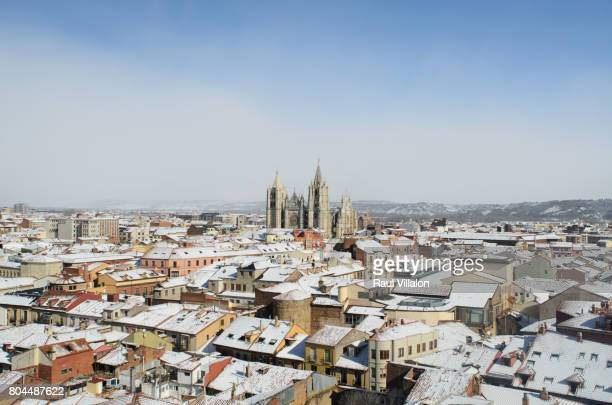 The old town of Leon, Spain with roofs covered with snow