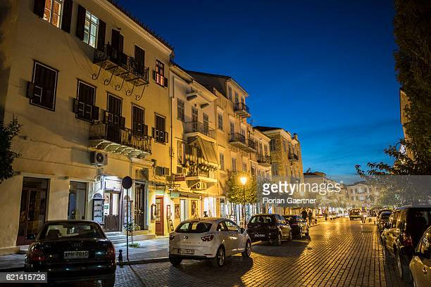 The old town of Nafplio is pictured during the blue hour on November 05 2016 in Nafplio Greece