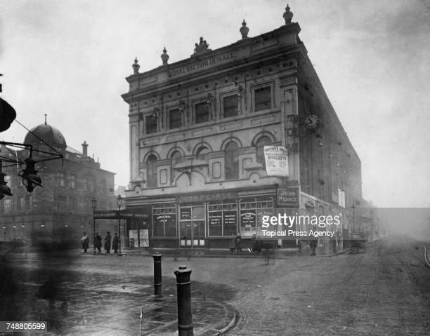 The Old Vic theatre on the corner of The Cut and Waterloo Road in Lambeth London March 1914 The theatre was officially The Royal Victoria Hall but...