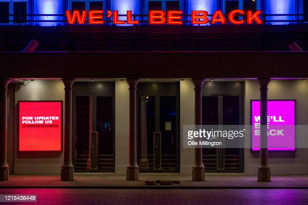 The Old Vic Theatre shut till further notice due to the Covid19 Lockdown seen on March 28 2020 in London England British Prime Minister Boris Johnson...