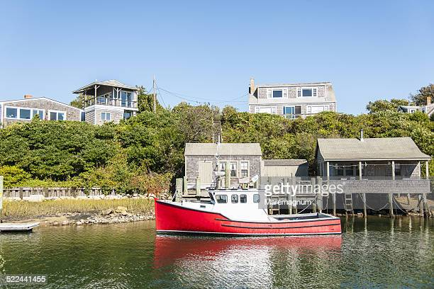 the old village of menemsha - marthas vineyard stock pictures, royalty-free photos & images