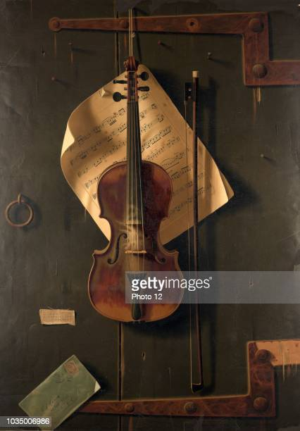 The Old Violin by F. Tuchfarber of Cincinnati in 1887, is a highly decorative subject with it's tromp l'oeil subject of a violin backed by sheet...