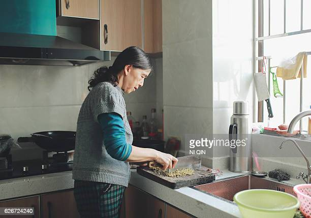 The old woman chopping