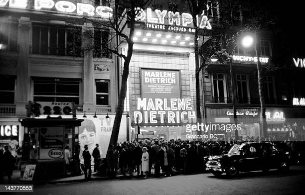 The Olympia neon sign for the concert of German actress and singer Marlene Dietrich during May 1962 in ParisFrance