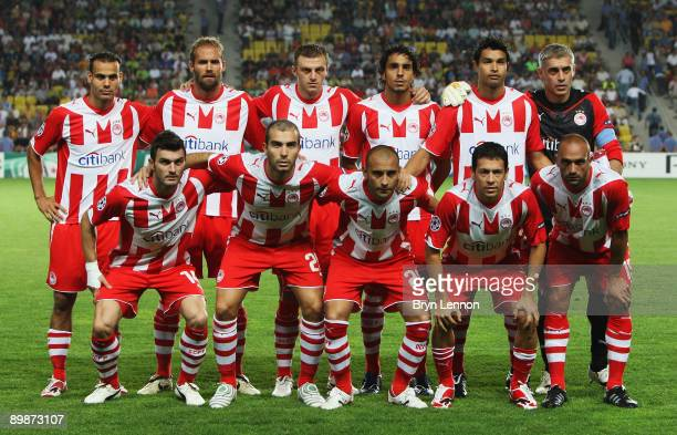 The Olympiacos FC team line up prior to the UEFA Champions League qualifying match between FC Sheriff and Olympiacos FC at the Sheriff Stadium on...