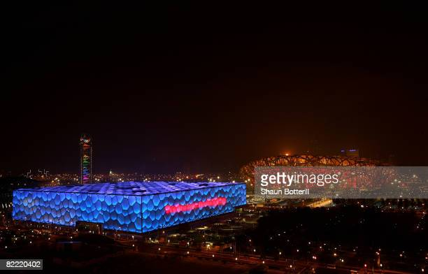 The Olympic Aquatic Centre and the National Stadium sit side by side during the Opening Ceremony for the 2008 Beijing Summer Olympics on August 8,...