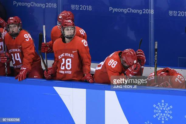 TOPSHOT The Olympic Athletes from Russia's team reacts after losing the women's bronze medal ice hockey match between Finland and the Olympic...