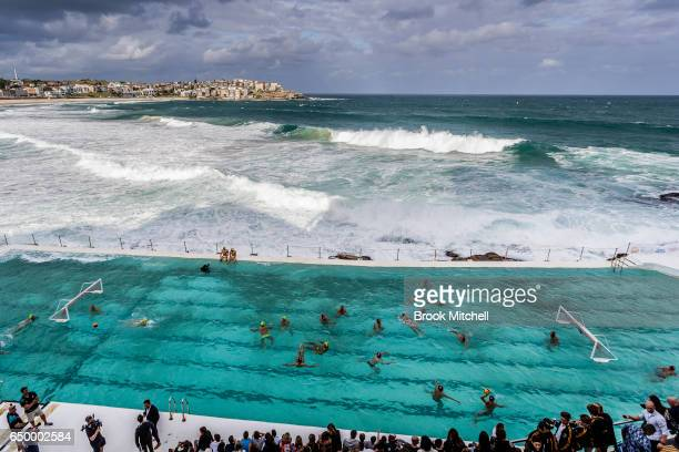 The Olympic Aussie Sharks warm up for their match against an International AllStars team at Water Polo by the Sea at the iconic Bondi Icebergs on...