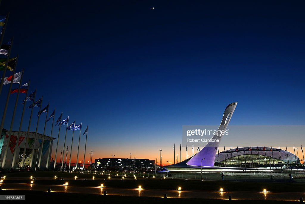 The Olympic Cauldron and Bolshoy Ice Dome are seen ahead of the Sochi 2014 Winter Olympics at the Olympic Park on February 3, 2014 in Sochi, Russia.