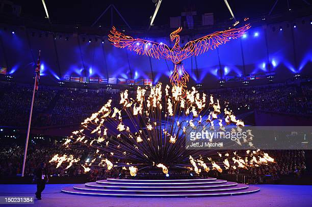The Olympic cauldron is extinguished during the Closing Ceremony on Day 16 of the London 2012 Olympic Games at Olympic Stadium on August 12, 2012 in...