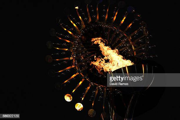 The Olympic Cauldron is lit at the Olympic Boulevard for the 2016 Rio Summer Olympic Games on August 5, 2016 in Rio de Janeiro, Brazil.