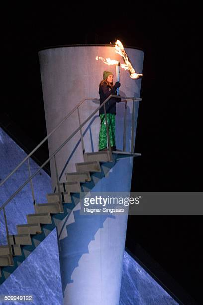 The Olympic cauldron is lit by Princess Ingrid Alexandra of Norway during the opening ceremony of theÊLillehammer 2016 Youth Olympic Games on...