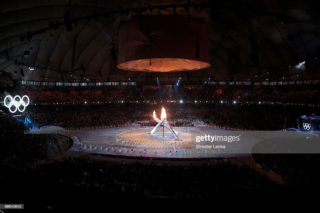The Olympic cauldron is lit during the Opening Ceremony of the 2010 Vancouver Winter Olympics at BC Place on February 12, 2010 in Vancouver, Canada.