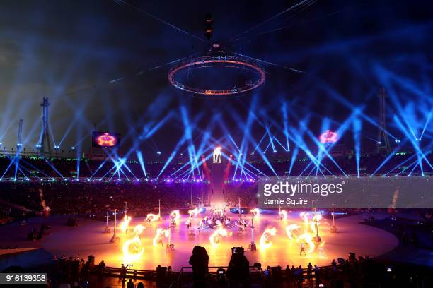 The Olympic cauldron is lit during the Opening Ceremony of the PyeongChang 2018 Winter Olympic Games at PyeongChang Olympic Stadium on February 9...