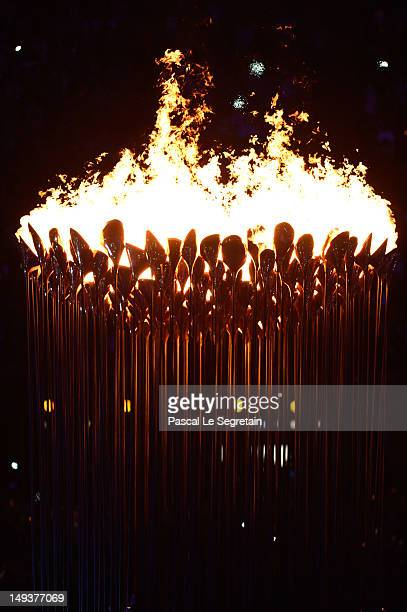 The Olympic Cauldron is lit during the Opening Ceremony of the London 2012 Olympic Games at the Olympic Stadium on July 27, 2012 in London, England.