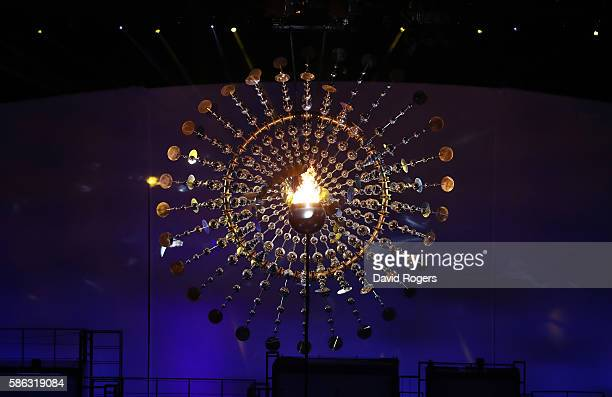 The Olympic Cauldron is lit during the Opening Ceremony of the Rio 2016 Olympic Games at Maracana Stadium on August 5, 2016 in Rio de Janeiro, Brazil.