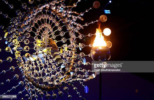 The Olympic Cauldron is lit during the Opening Ceremony of the Rio 2016 Olympic Games at Maracana Stadium on August 5 2016 in Rio de Janeiro Brazil