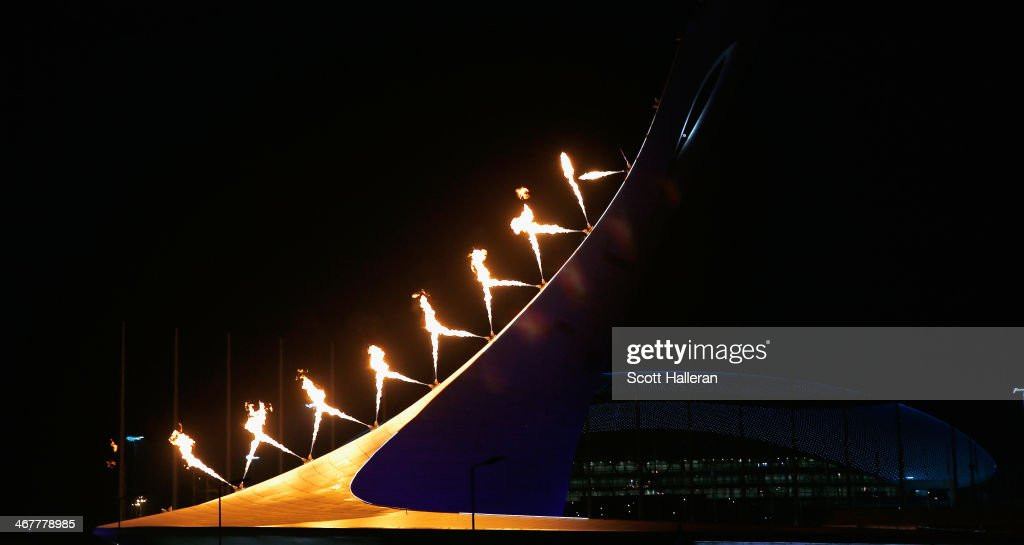 The Olympic Cauldron is lit over the Olympic Park during the Opening Ceremony of the Sochi 2014 Winter Olympics at Fisht Olympic Stadium on February 7, 2014 in Sochi, Russia.