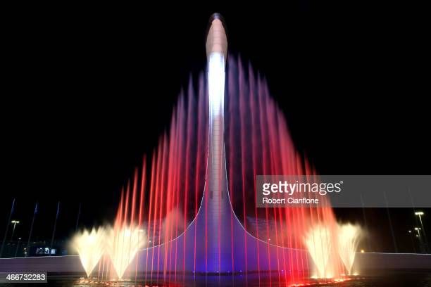 The Olympic Cauldron is seen ahead of the Sochi 2014 Winter Olympics at the Olympic Park on February 3 2014 in Sochi Russia