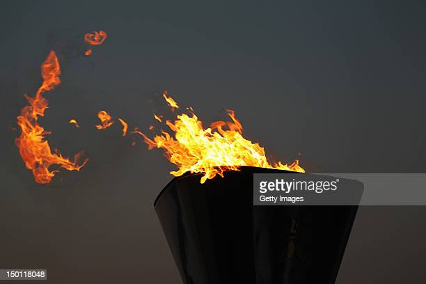 The Olympic cauldron is seen at sunset on Day 14 of the London 2012 Olympic Games at the Weymouth & Portland Venue at Weymouth Harbour on August 10,...