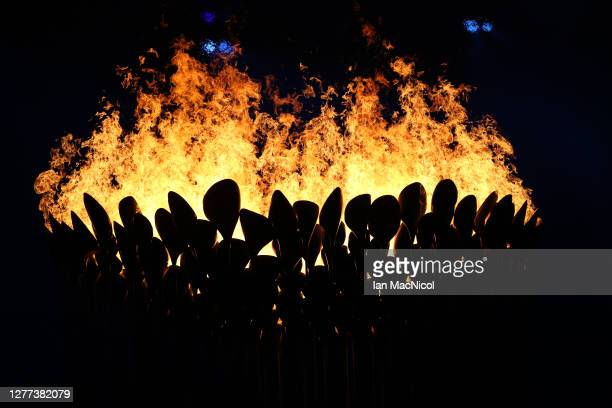 The Olympic Cauldron is seen burning in the stadium during the Opening Ceremony of the London 2012 Olympic Games, directed by Danny Boyle, London...