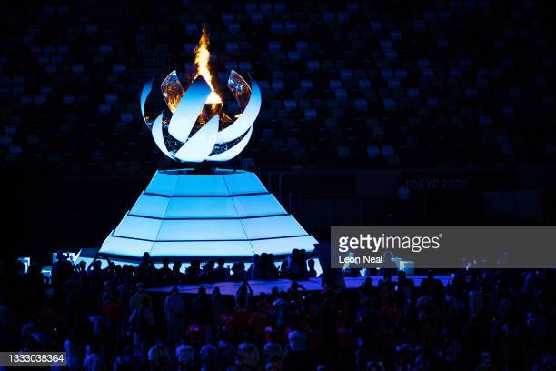 The Olympic cauldron is seen during the Closing Ceremony of the Tokyo 2020 Olympic Games at Olympic Stadium on August 08, 2021 in Tokyo, Japan.