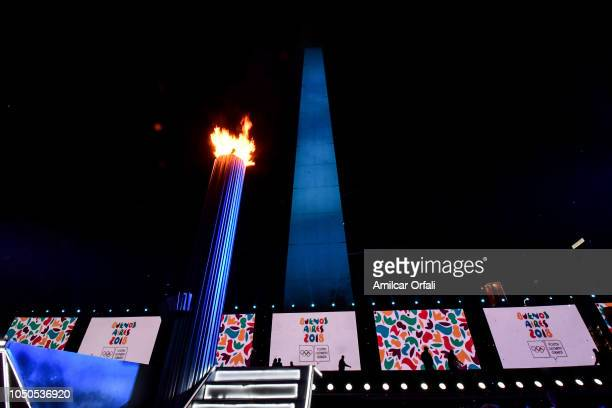 The Olympic Cauldron is seen during the opening ceremony of the Buenos Aires 2018 Youth Olympic Games at Obelisco monument on October 06 2018 in...