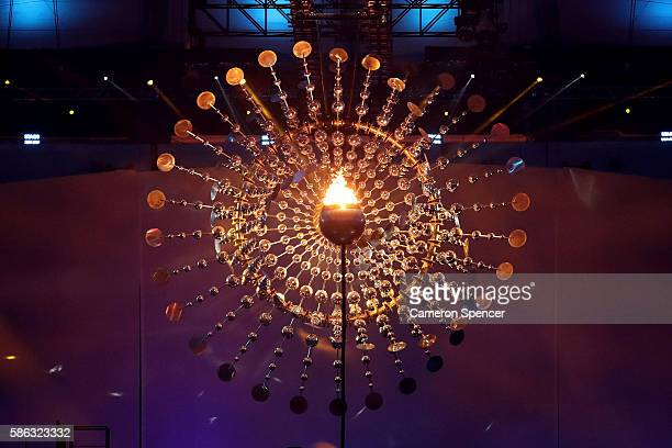 The Olympic Cauldron is seen lit during the Opening Ceremony of the Rio 2016 Olympic Games at Maracana Stadium on August 5, 2016 in Rio de Janeiro,...