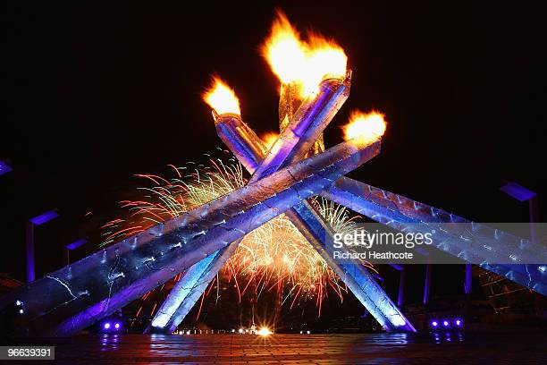 The Olympic Cauldron is seen shortly after being lit as fireworks go off during the Opening Ceremony of the 2010 Vancouver Winter Olympics at BC...