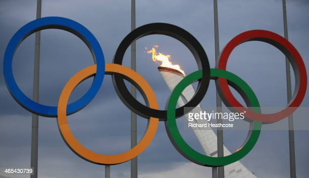 The Olympic Cauldron is tested by fire crews at the Sochi 2014 Winter Olympic Park in the Costal Cluster on January 27, 2014 in Sochi, Russia.