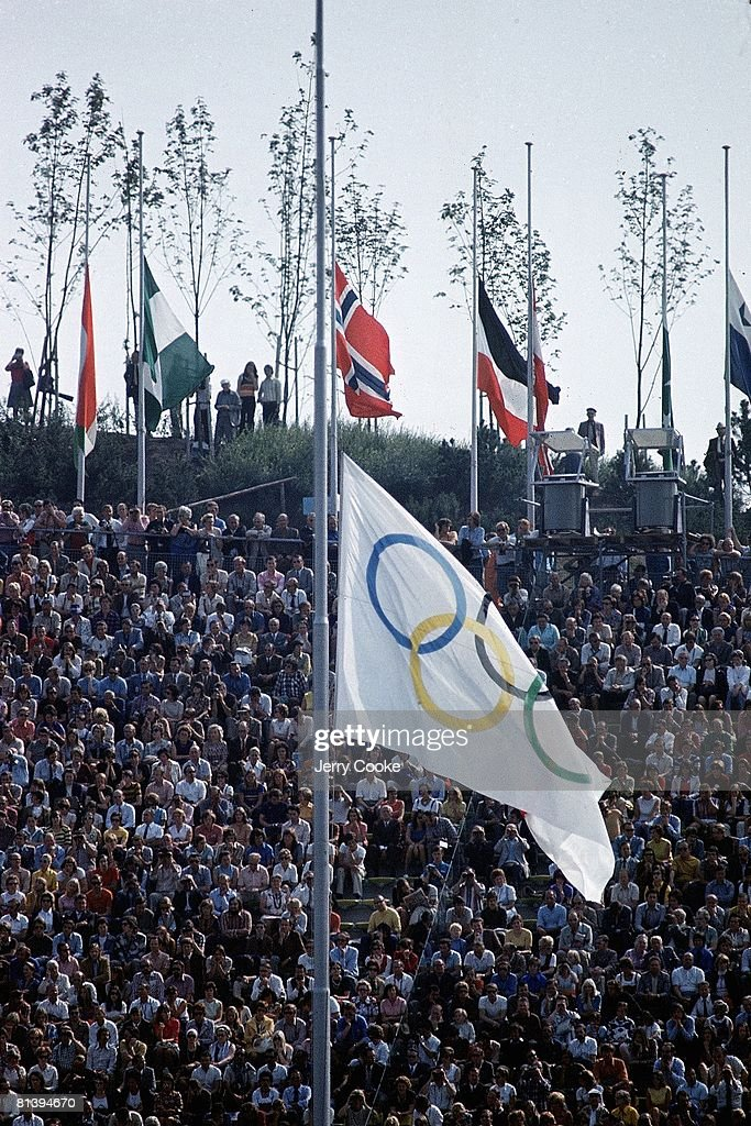 The Olympic flag at half mast during a memorial for the Israeli athletes killed by the Black September terrorist group at the 1972 Olympics, Munich, 9/6/1972.