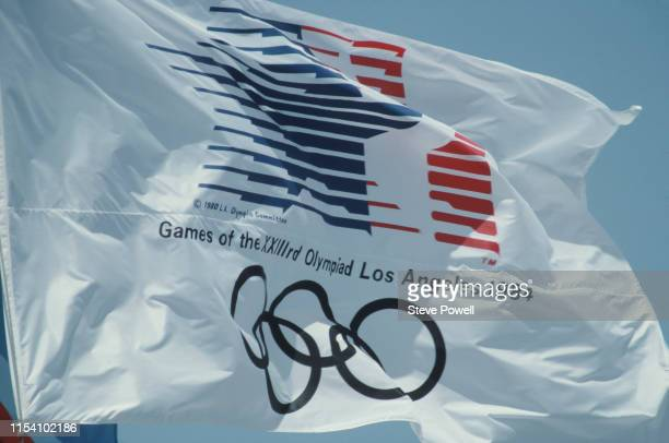 The Olympic flag flying overthe stadium infield during the opening ceremony for the XXIII Olympic Games on 28 July 1984 at the Los Angeles Memorial...