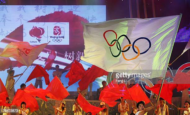 The Olympic flag is displayed at the closing ceremony of the Beijing 2008 Olympic Cultural Festival at Beijing Tianqiao Theater July 15 2007 in...