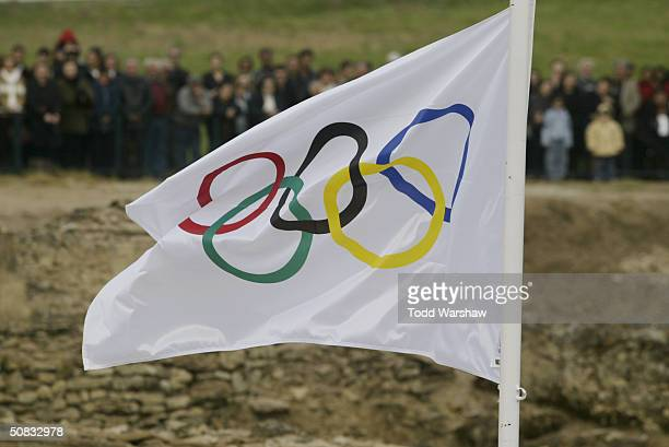 The Olympic flag is displayed during the Olympic flame ceremony on March 25 2004 in Olympia Greece