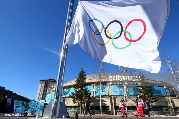 The Olympic flag is pictured prior to the PyeongChang 2018 Olympic Village opening ceremony at the PyeongChang 2018 Olympic Village Plaza on February...