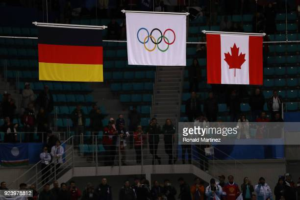 The Olympic flag is raised after gold medal winners Olympic Athletes from Russia defeated Germany 43 in overtime during the Men's Gold Medal Game on...