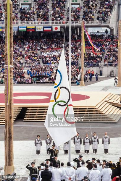 The Olympic Flag is raised during the Opening Ceremonies of the 1998 Winter Olympic Games on February 7 1988 at the Minami Nagano Sports Park in...