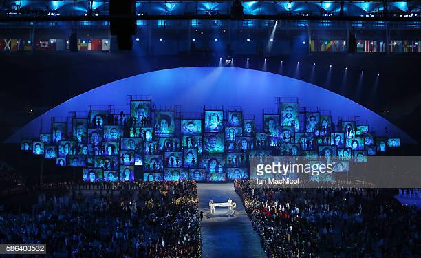 The Olympic flag is seen during The 2016 Summer Olympics Opening Ceremony at Maracana Stadium on August 5 2016 in Rio de Janeiro Brazil