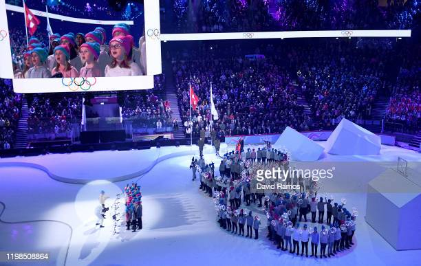 The Olympic Flag is seen during the Opening Ceremony of the Lausanne 2020 Winter Youth Olympic Games at Vaudoise Arena on January 09, 2020 in...