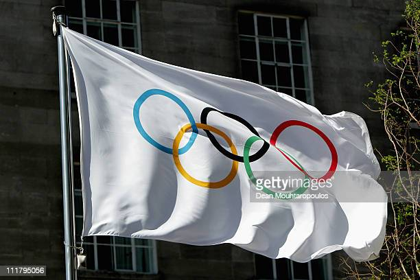 The Olympic flag with the iconic Olympic rings is pictured during the IOC Executive Board meetings held at the Westminster Bridge Park Plaza on April...