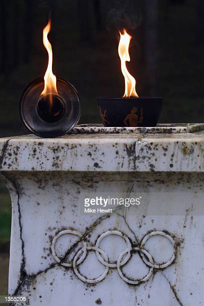 The Olympic Flame burning in the Pierre de Coubertin Grove during the Olympic flame ceremony for the Salt Lake City Winter Games 2002 on November 19...