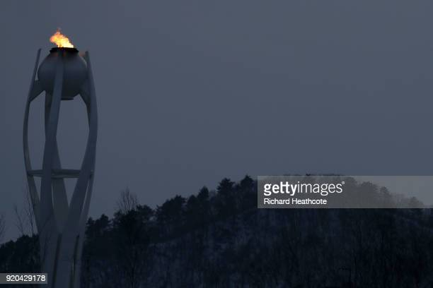 The Olympic flame burns at Olympic Park on day 10 of the PyeongChang 2018 Winter Olympic Games on February 19 2018 in Pyeongchanggun South Korea