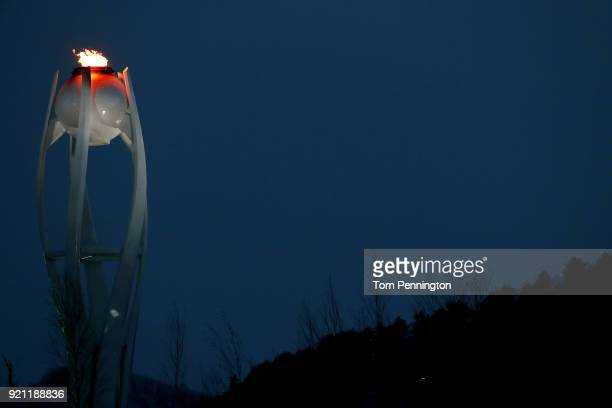 The Olympic flame burns at Olympic Park on day 11 of the PyeongChang 2018 Winter Olympic Games on February 20, 2018 in Pyeongchang-gun, South Korea.
